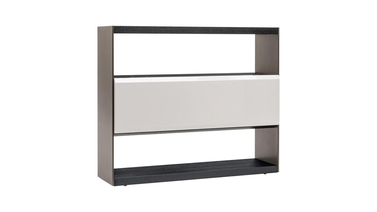 A Carson polcok modern, minimalista designját a luxus alpanyagok teszik felejthetetlenné. A végeredmény egy nemcsak vizuálisan, hanem taktilisen is lenyűgöző bútor. A Carsont minden részletében hibátlan kialakítás jellemzi, így térelválasztóként is megállja a helyét. Keresse több szín- és anyagváltozatban is a CODE Showroom kínálatában!
