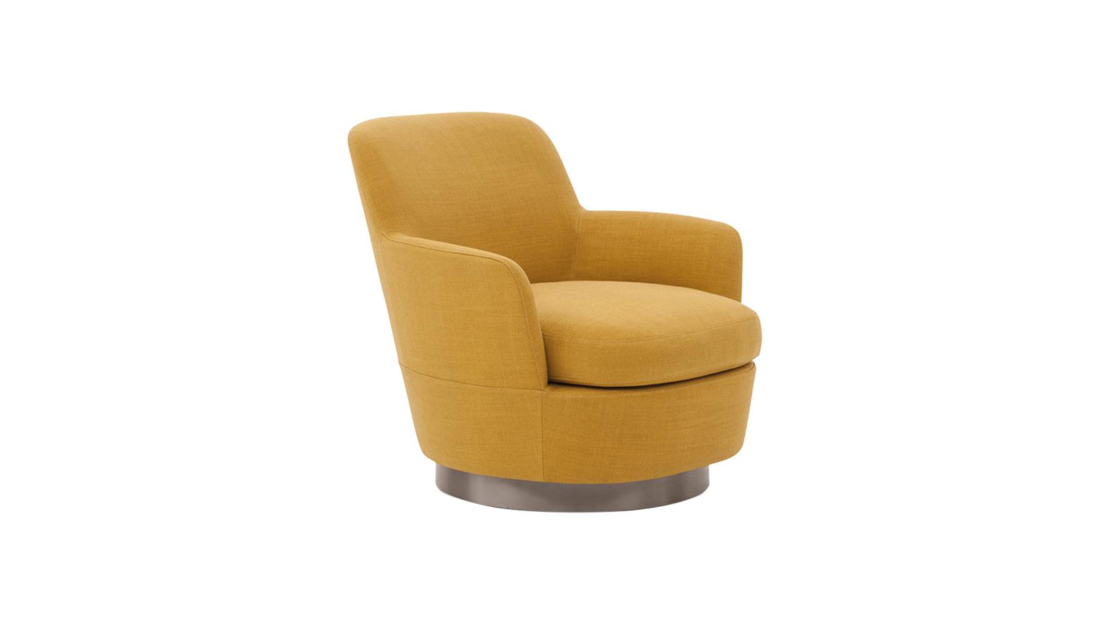 Lágy formák, kompakt arányok, ragyogó részletek: a Minotti Jacques kollekciója rendkívüli otthonosságot sugároz, leheletnyi nosztalgiával fűszerezve. A sorozat, melyhez kanapék, puffok és karosszékek is tartoznak, elegáns és kényelmes – akárcsak ez a kis fotel, mely forgatható változatban is elérhető.