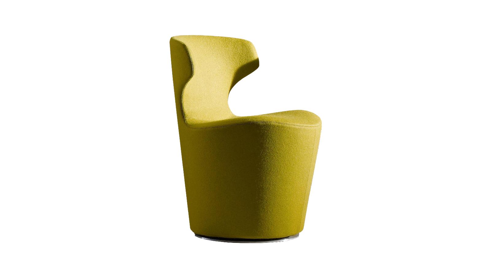 Naoto Fukasawa designer alkotása több méretben kapható a B&B Italia kínálatában. Ez a mini változat megőrizte az eredeti erényeit: 360 fokban elforgatható, látványosságát pedig a tömör bútortest és a pillangóra emlékeztető, könnyed háttámla kontrasztja biztosítja. A mini választás ideális lehet olyan terekbe, ahol sok kisebb ülőbútorra van szükség.